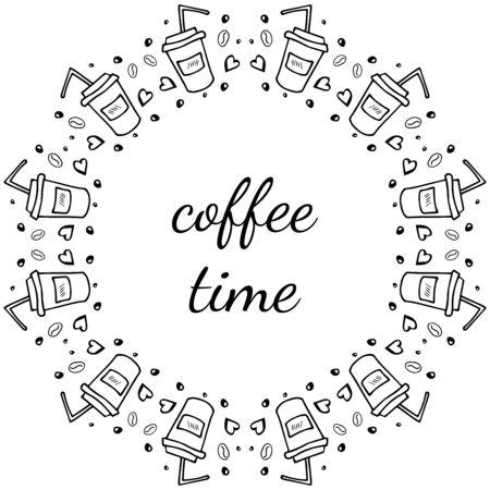 coffee set doodle, border cup