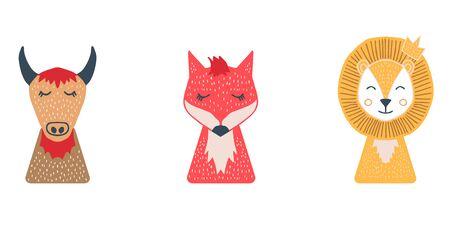 bull, fox, lion, fase, scandinavian, doodle, color