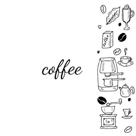 coffee set doodle, banner 3