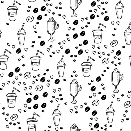 coffee set doodle, seamless Illustration