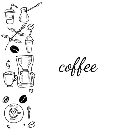 Hand drawn coffee set sketch illustration, banner. Menu design for cafe, restaurant, coffee shop, doodle design.