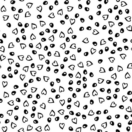 Black dots, hearts, doodle, seamless 1 Illustration