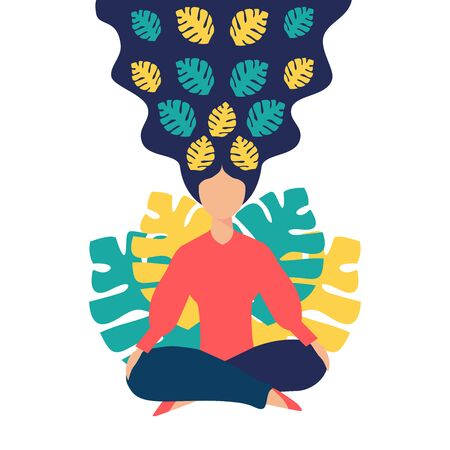 Girl sits in the lotus position, isolated, the inception and the search for ideas. Mindfulness, meditation and yoga background. Concept of health benefits for the body, mind and emotions. Vector.