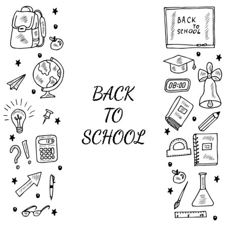 Back to school, doodle border 2