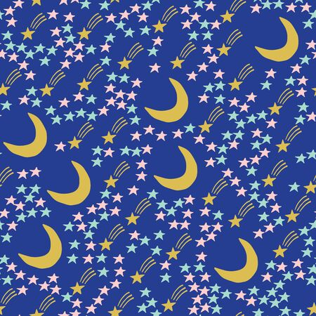 star, crescent, doodle, seamless 1