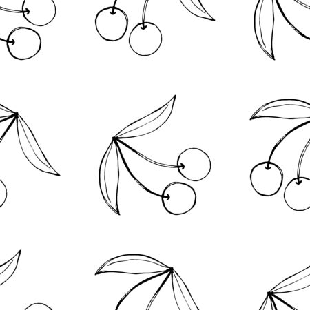 Cherry, isolated on white, hand drawn sketch illustration, seamless pattern