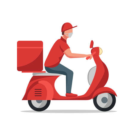 delivery man scooter Illustration
