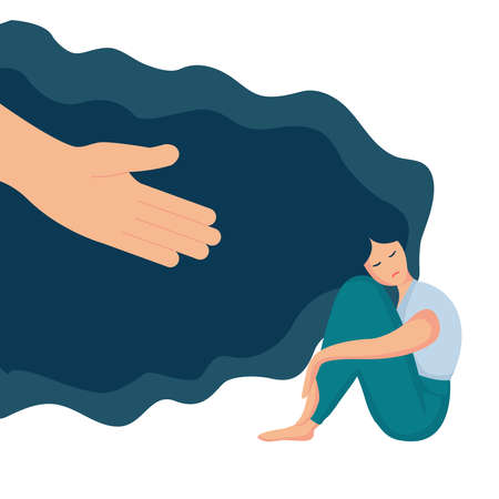 Flat vector illustration of psychological concept of support and care for people under stress. Human hand helps a woman to get rid of depression. Sad lonely woman with hair sitting, hugging her knees