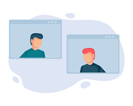 Video call conference concept illustration. Young people making video call through virtual user interface window. Business discussion. Social distancing. Remote project management. Flat design.