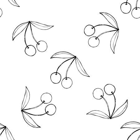Cherry sketch vector seamless Illustration