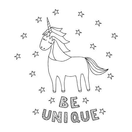 unicorn doodle bw, lettering 3