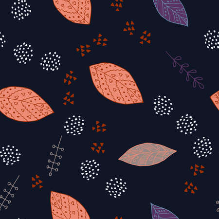 Sketchy hand drawn foliage set with leaves and branches of different shape, isolated illustration. Doodle vector, scandinavian design, seamless pattern. Wallpaper, paper, fabric, textile design.