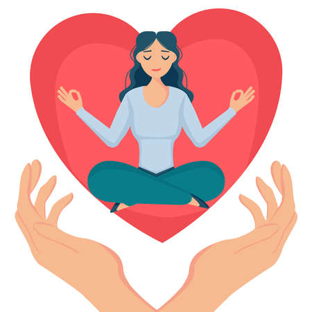 Girl sits in the lotus position, hugs a big heart with love and care. Self care, love yourself icon or body positive concept. Vector illustration, isolated on white.