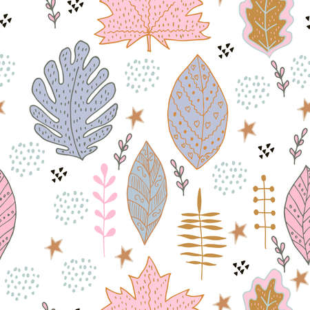 Sketchy hand drawn foliage illustration with leaves and branches of different shape, isolated. Doodle vector, scandinavian design, seamless pattern.