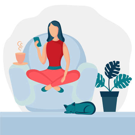 Girl sitting in armchair at home. Woman with phone on the chair. Freelance or studying concept. Female character, chatting online using smartphone, drinking hot tea or coffee.