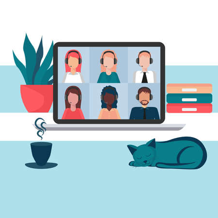 Conference video calls, remote project management, working from home, communication with friends, colleagues or relatives. Social distancing, business discussion. Vector illustration in flat style. Stock Illustratie