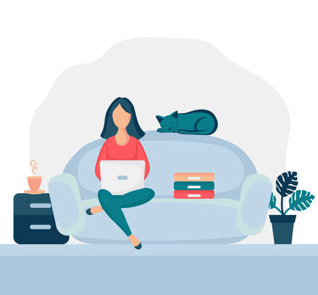 Girl sitting in armchair at home. Woman with laptop on the chair. Freelance or studying concept. Female character, chatting online using laptop, drinking hot tea or coffee. Stock Illustratie