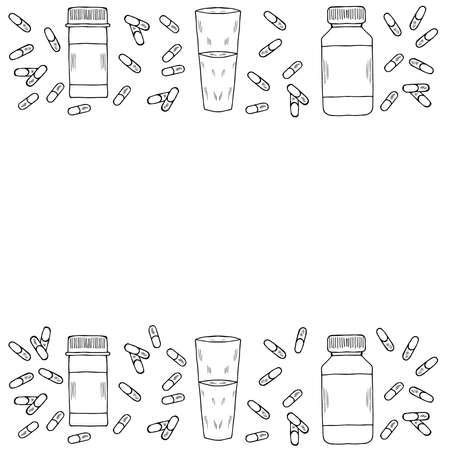Medicine vials, bottles, pills, vitamin capsule sketch frame, border. For vitamin and dietary supplement. Freehand drawing vector. Doodle style.