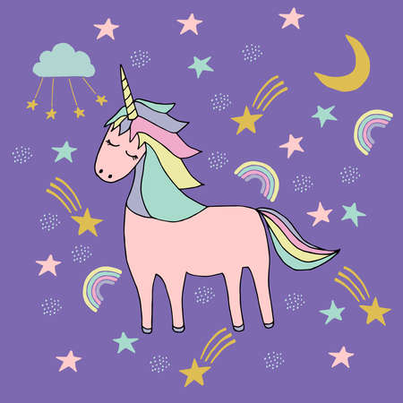 Magic unicorn childish illustration. Doodle vector, scandinavian style. For baby and kids design, t-shirt prints, fabric, apparel, nursery decoration, poster, cards.