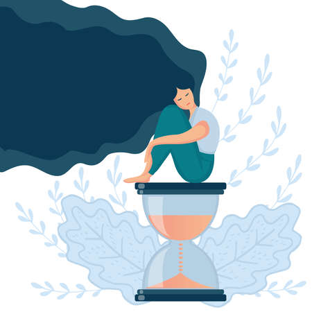 Cartoon vector illustration of psychological concept. Sad lonely woman in depression with long beautiful hair. Young unhappy girl sitting on the hourglass and hugging her knees. Depressed teenager. Иллюстрация