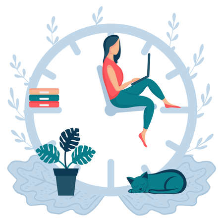 Happy woman sitting on the clock arrows and working on her laptop or smartphone. Multitasking, productivity, deadline and time management concept. Mechanical watches.