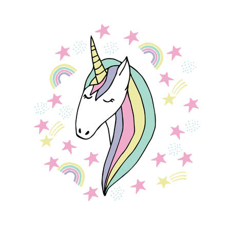Magic face unicorn childish illustration. Doodle vector, scandinavian style. For baby and kids design.