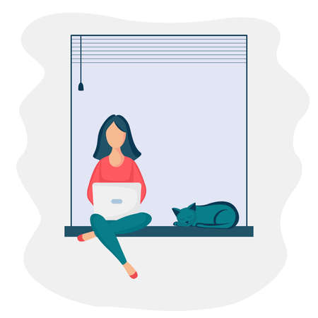 girl sitting windowsill laptop 3 Stock Illustratie
