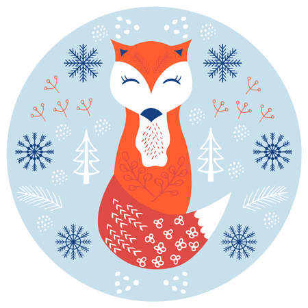 fox scandinavian cute 1 Stock Illustratie