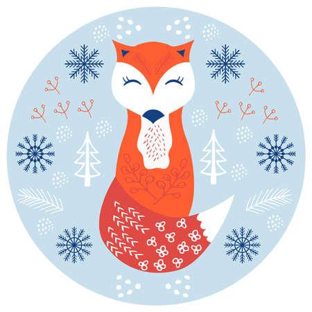 fox scandinavian cute 1 Illusztráció