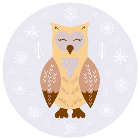 owl scandinavian sketch 1 Stock Illustratie