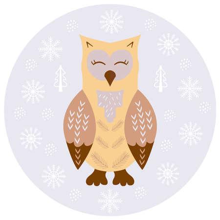 owl scandinavian sketch 1 Illusztráció