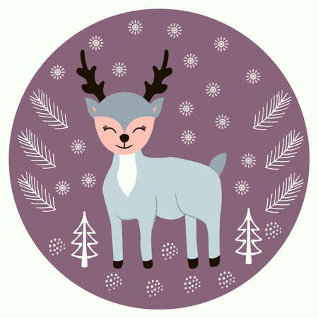 deer scandinavian doodle Stock Illustratie