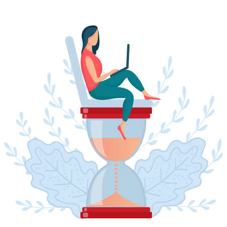 girl sitting hourglass 7 Stock Illustratie