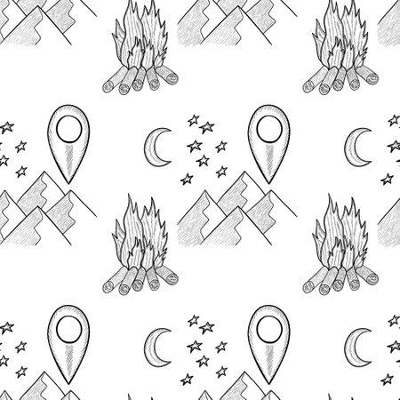 camping seamless doodle 일러스트