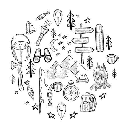 camping circle doodle set 일러스트
