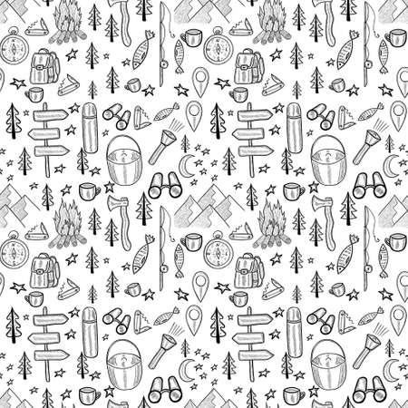 camping seamless doodle background 일러스트