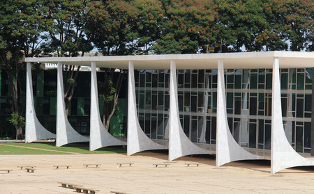 law of brazil: BRAZIL, BRASILIA, MAY 08, 2016 Detail fo Federal Court of Justice Facade by Oscar Niemeyer Editorial