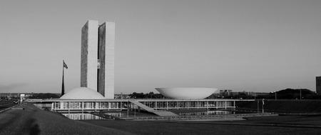 national congress: BRASILIA, BRAZIL, MAY 07, 2016 National Congress at Sunset Black and White