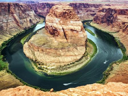 Horseshoe Bend, Glen Canyon, Page, Arizona, AZ, USA - An extraordinary view of the Horseshoe Bend, an Erg horseshoe-shaped and the Colorado River Stock Photo