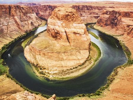 downstream: Horseshoe Bend, Glen Canyon, Page, Arizona, AZ, USA - An extraordinary view of the Horseshoe Bend, an Erg horseshoe-shaped and the Colorado River Stock Photo