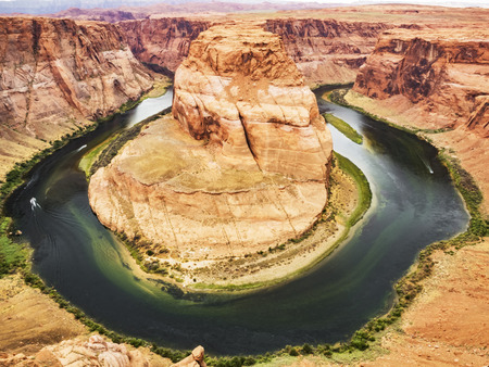 Horseshoe Bend, Glen Canyon, Page, Arizona, AZ, USA - An extraordinary view of the Horseshoe Bend, an Erg horseshoe-shaped and the Colorado River Stock Photo