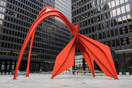 Red Flamingo Chicago city life on Thursday, 3rd of August, 2017 - Chicago, Illinois, USA