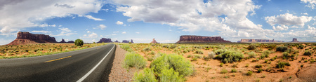 Panorama: Monument Valley scenic panorama on the road US Hwy 163 - Arizona, AZ, USA Stock Photo