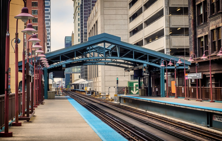 Metro station surrounded by buildings at The Loop - Soft Landscape Artistic Effect Effect - Chicago, CHI, Illinois, USA