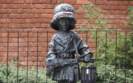 Little Insurrectionist Statue, a child soldier on the Pollish Resistence - July 6th, 2015 - Warsaw, Poland, Europe Editorial