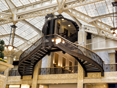 Rookery Building, Chicago, IL - August 3, 2017: Light court lobby of the Rookery Building, South LaSalle St, Loop area, Chicago, Cook County, Illinois, USA