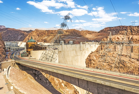 Hoover Dam arriving point - Arizona, AZ, USA Stock Photo