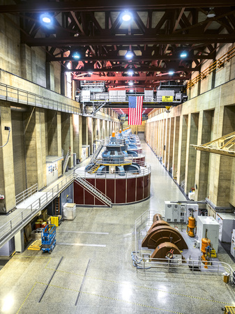 Hoover Dam power plant, underground turbines - Arizona, AZ, USA