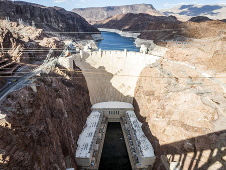 Hoover Dam and  Lake Mead from route 93 - Arizona, AZ, USA
