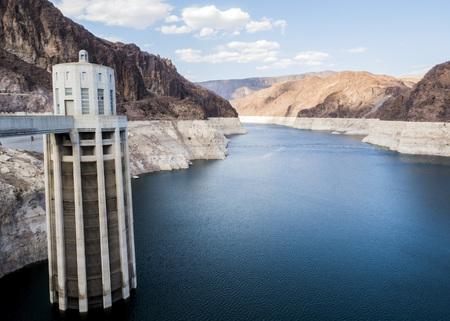 Hoover Dam Towers on the blue Lake Mead - Arizona, AZ, USA